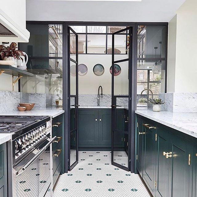 Farrow & Ball Studio Green kitchen cabinets