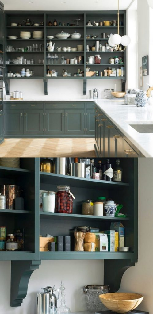 Farrow & Ball Studio Green painted kitchen cabinets