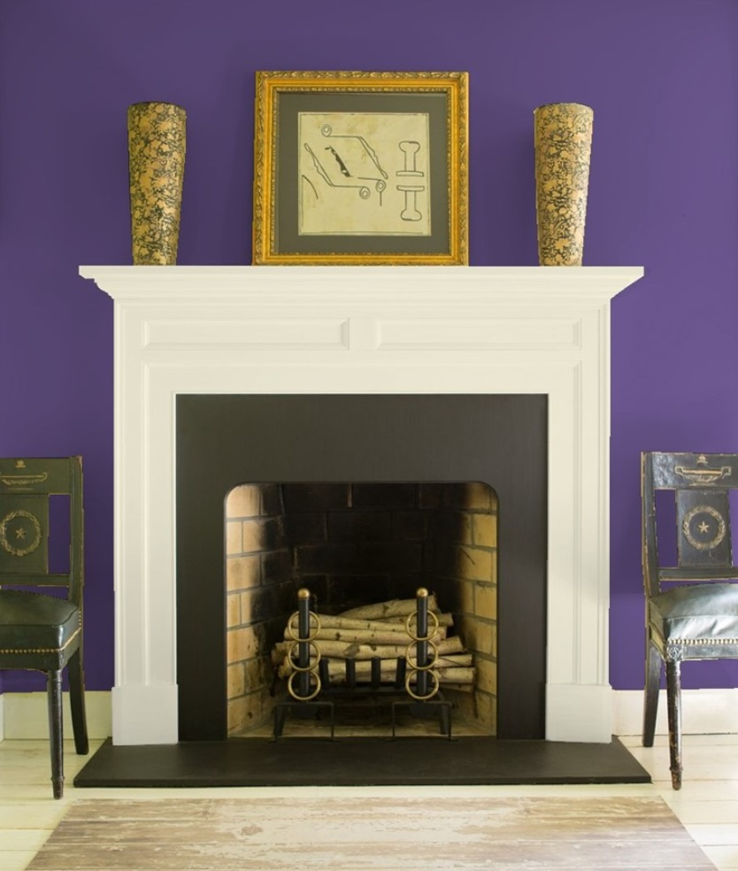Fireplace with wall color in Benjamin Moore Your Majesty