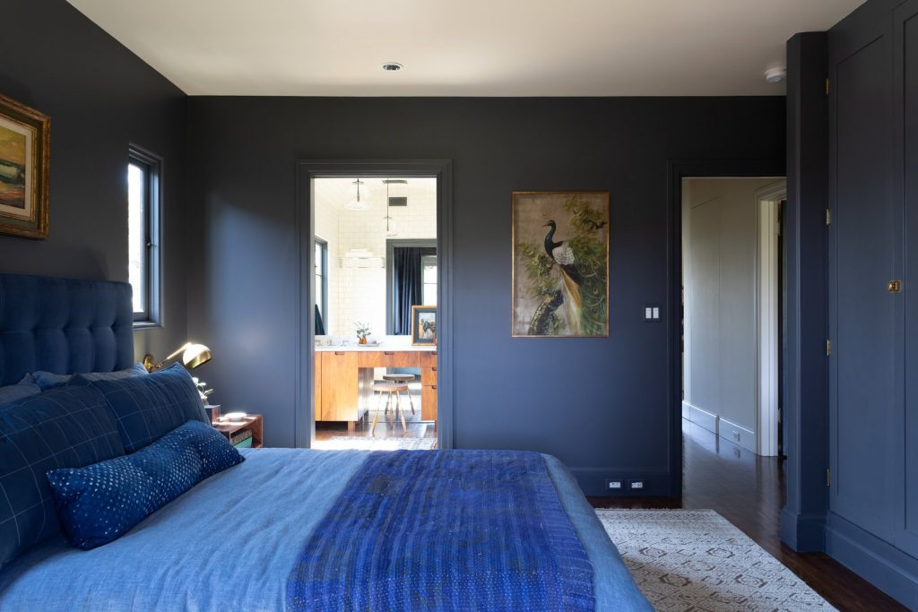 French Beret from Benjamin Moore painted blue bedroom