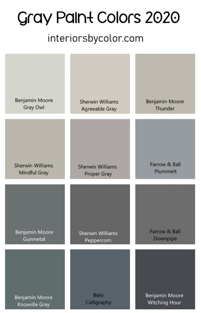 Gray Paint Color Ideas for 2020 from Interiorsbycolor.com