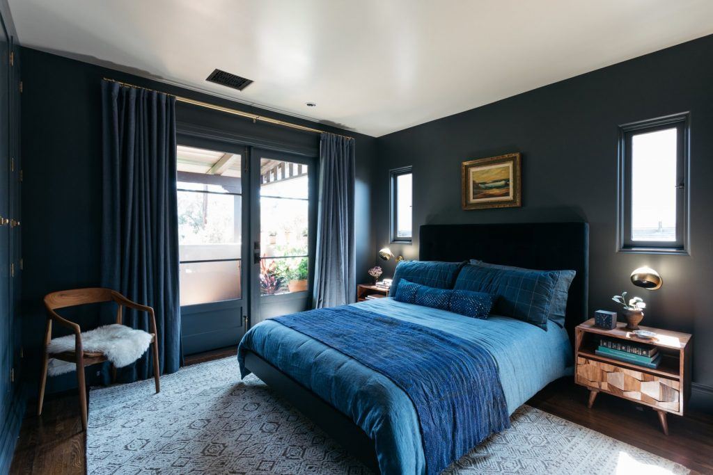 Indigo bedroom Benjamin Moore French Beret