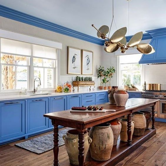 Kitchen painted in Benjamin Moore Dragon Blue