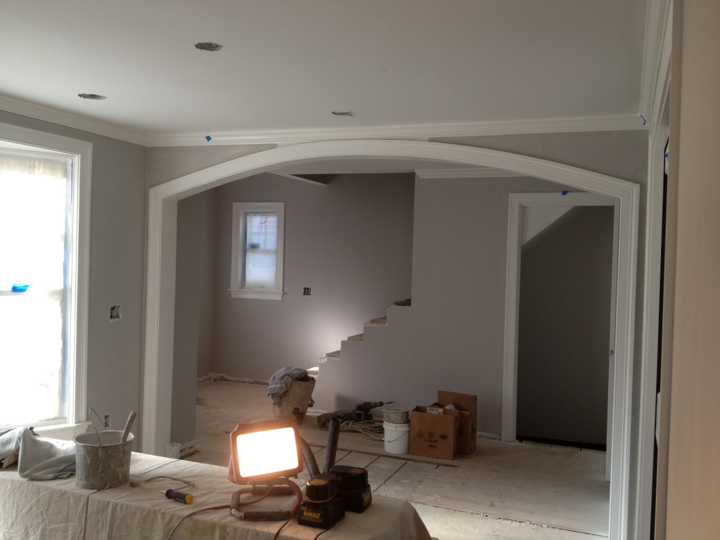 One coat of Benjamin Moore Stonington Gray