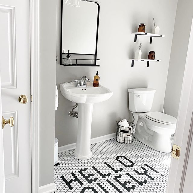 Sherwin Williams Mindful Gray Bathroom 2020 trend
