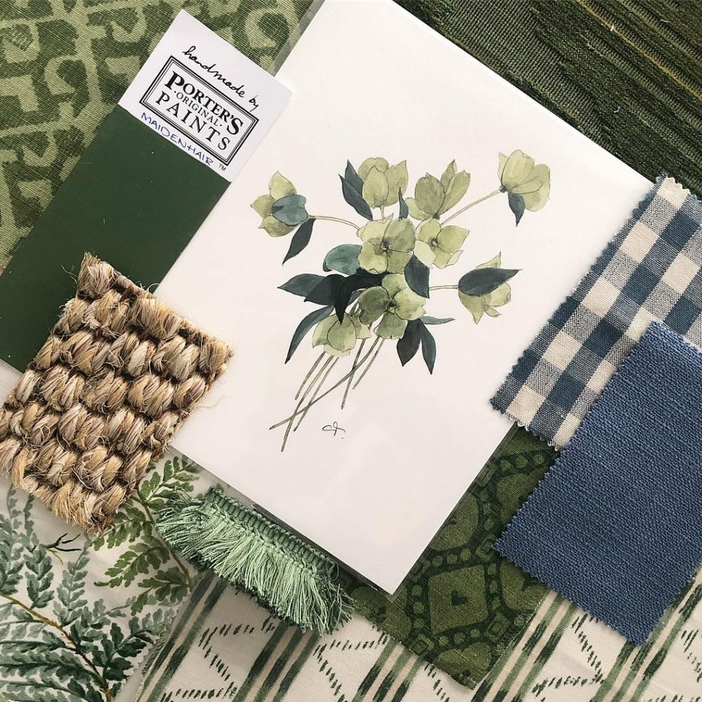 Botanicals with a touch of blue color palette