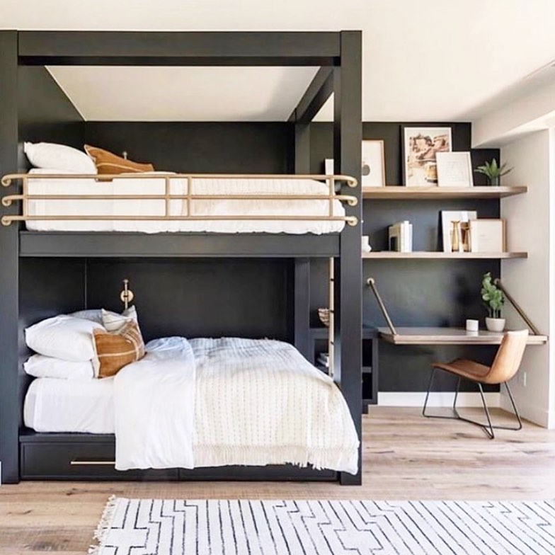 Bunk beds with charcoal walls