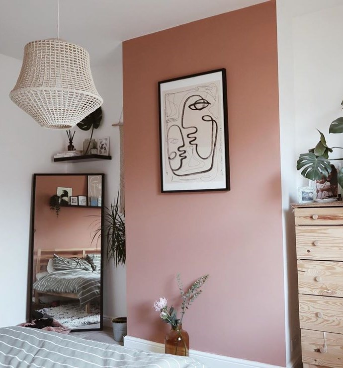 Valspar Burnished Apricot pink paint color feature wall