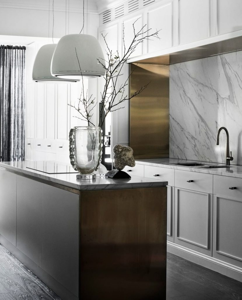 Calacatta marble and stainless steel kitchen