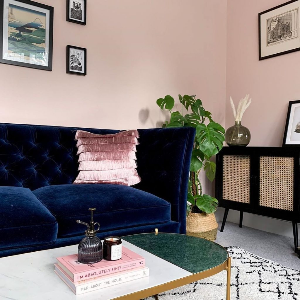 Farrow & Ball Calamine paint color walls living room.