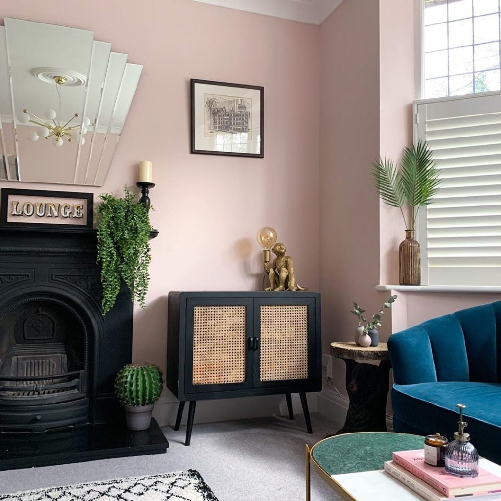 Farrow & Ball Calamine pink wall paint fireplace
