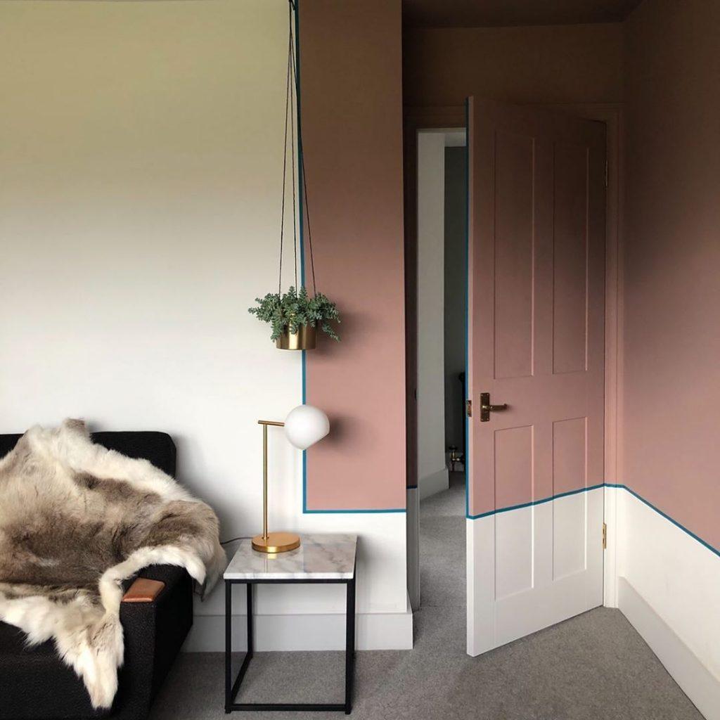 Farrow & Ball Sulking Room Pink color blocking