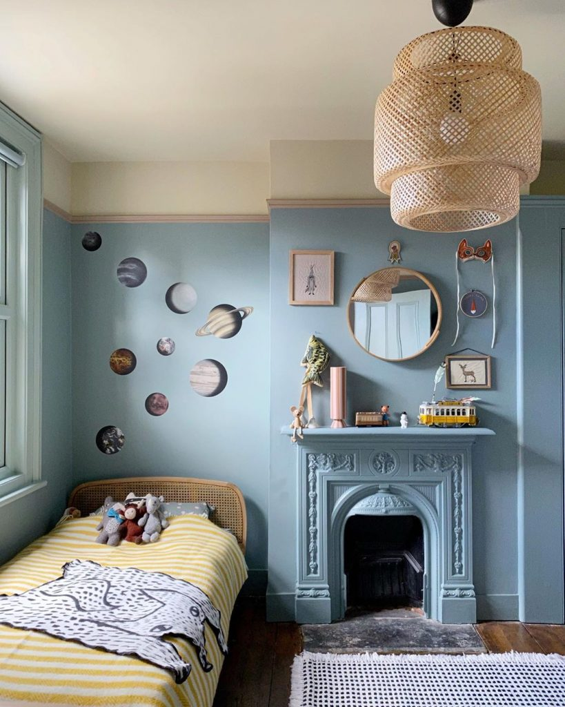 Farrow & Ball paint colors Oval Room Blue walls, a Skimmed Milk White ceiling and a Dead Salmon picture rail. kids bedroom