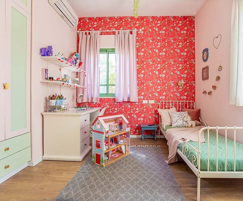 Girl's bedroom interior in mint and red