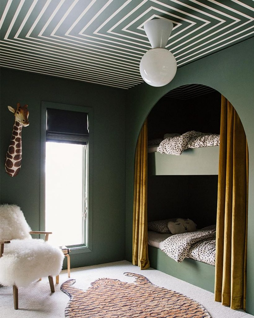 Kids bedroom decor in green with bunk beds and Sherwin Williams Oakmoss
