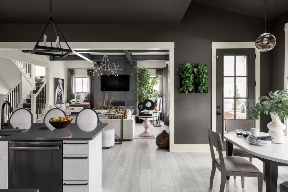 kitchen decor with black walls and ceiling