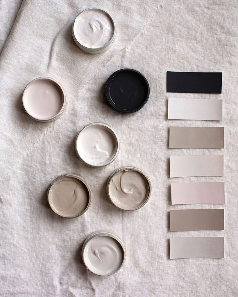 Neutral and black paint palette
