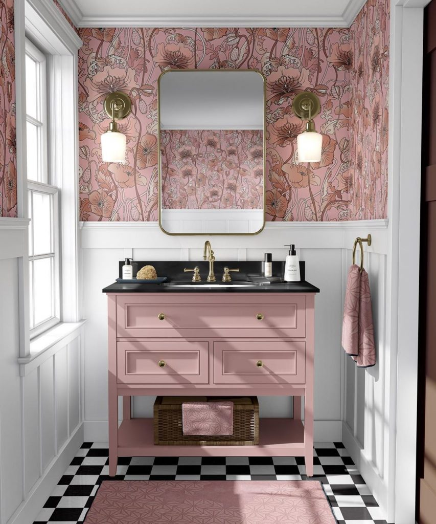 Pink bathroom interior design idea for 2020