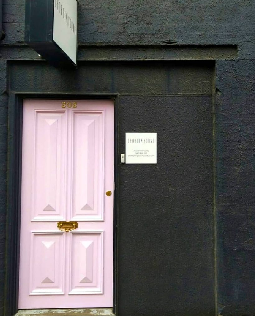 Porter's Paints Mademoiselle pink painted door