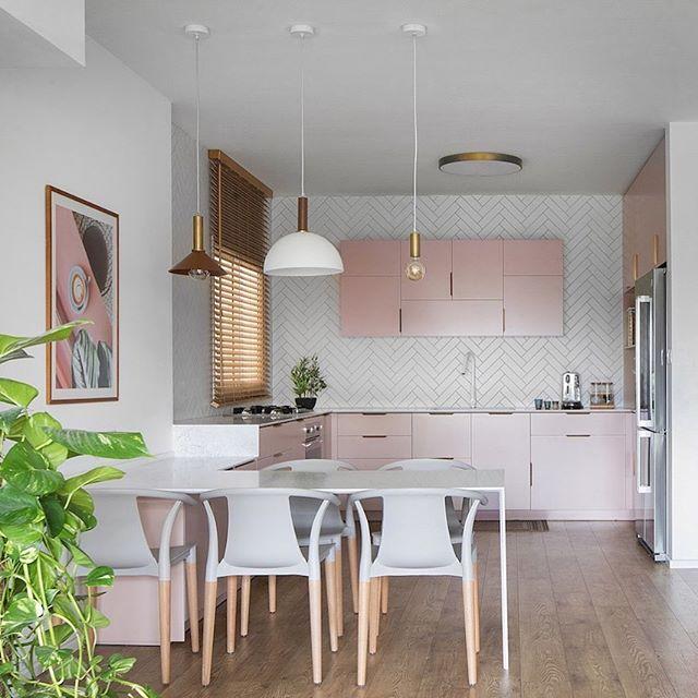 Powdery pink kitchen interior design