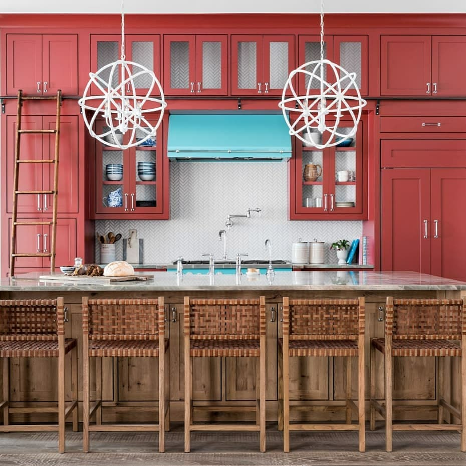 Red kitchen cabinets painted in Benjamin Moore Dinner Party