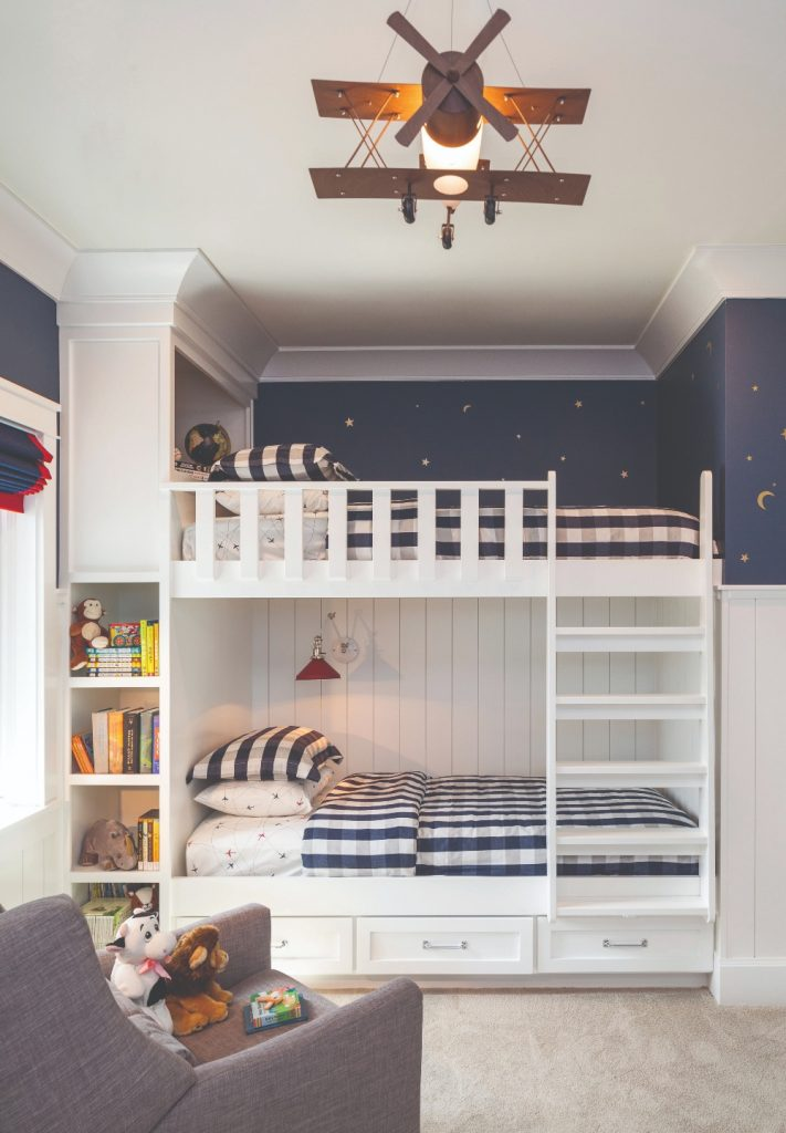 Twin bunk beds with drawers and shelves