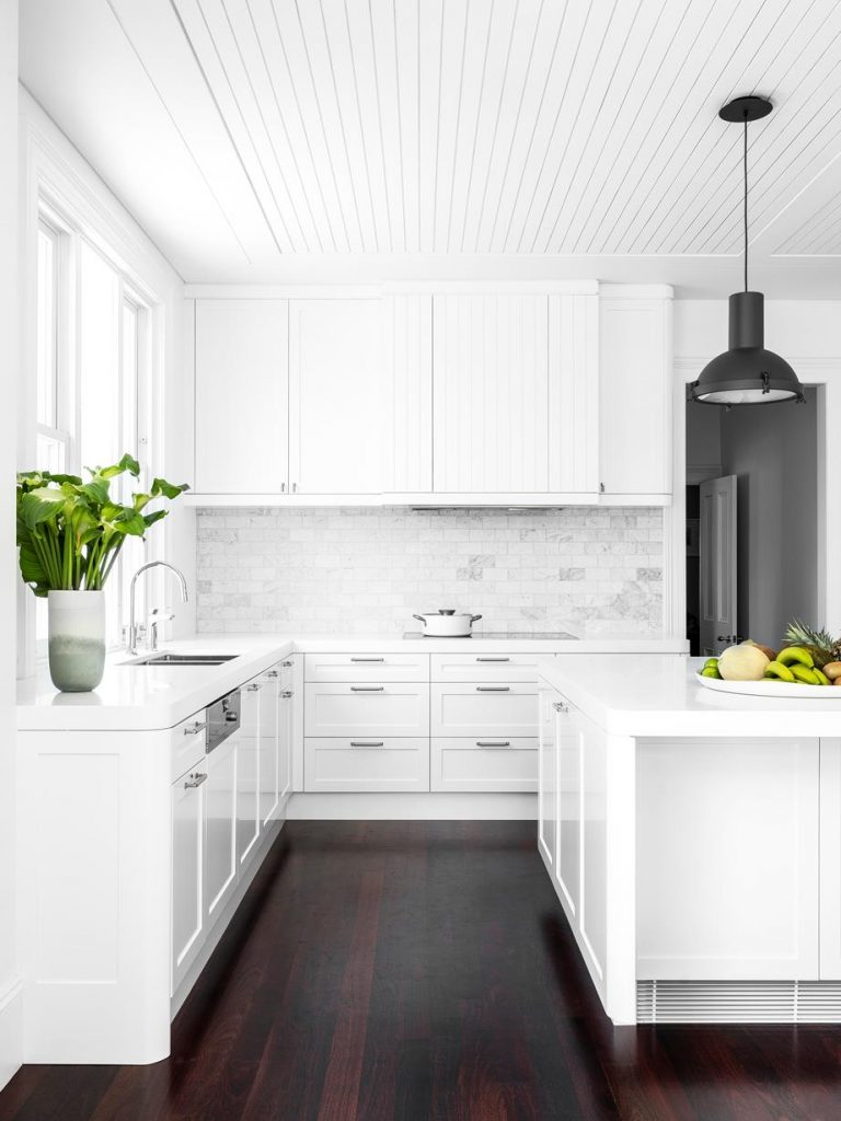White kitchen wooden floor trend 2020
