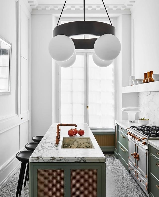 contemporary marble and green kitchen