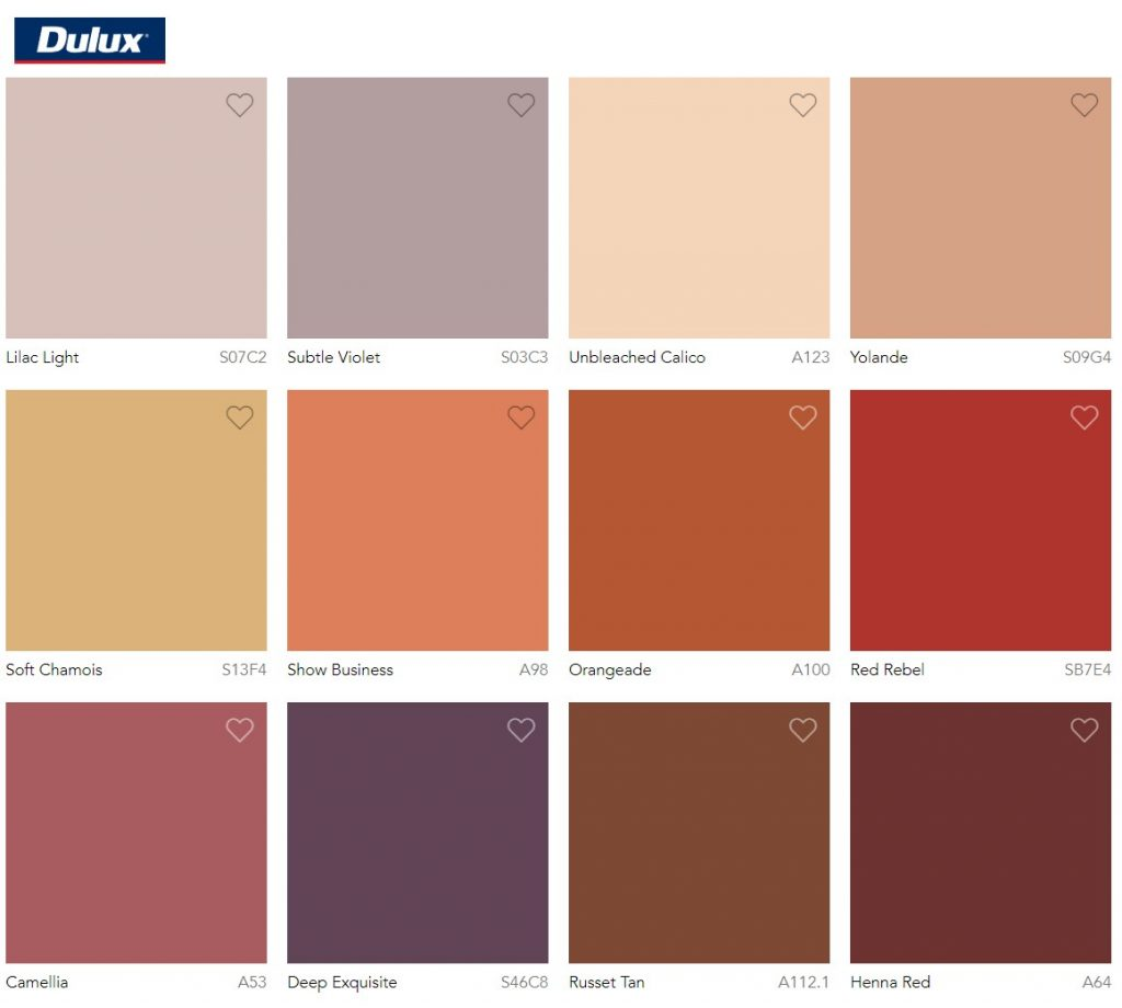 Dulux Paint Color Trend 2020 Indulge Colour Palette