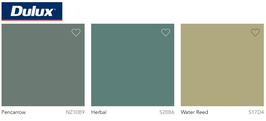 Dulux Paint Trend 2020 Green, Pencarrow, Herbal and Water Reed