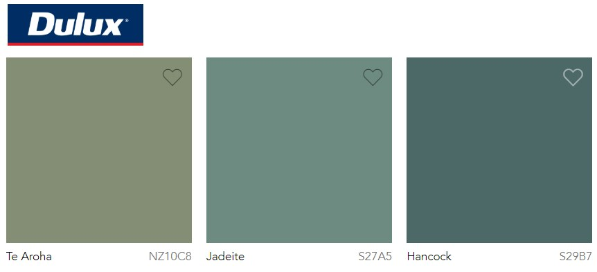 Dulux Paint Trend 2020 Green, Te Aroha, Jadeite and Hancock