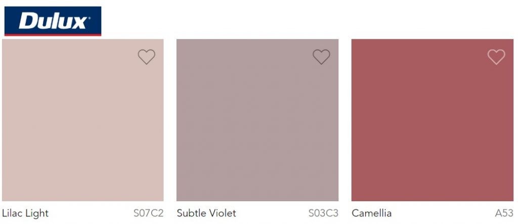 Dulux Paint Trend 2020 Lilac Light, Subtle Violet and Camellia