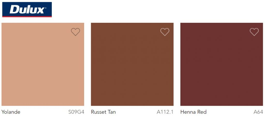 Dulux Paint Trend 2020 Yolande, Russet Tan and Henna Red