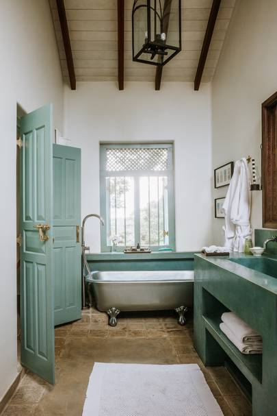 jade green bathroom interior