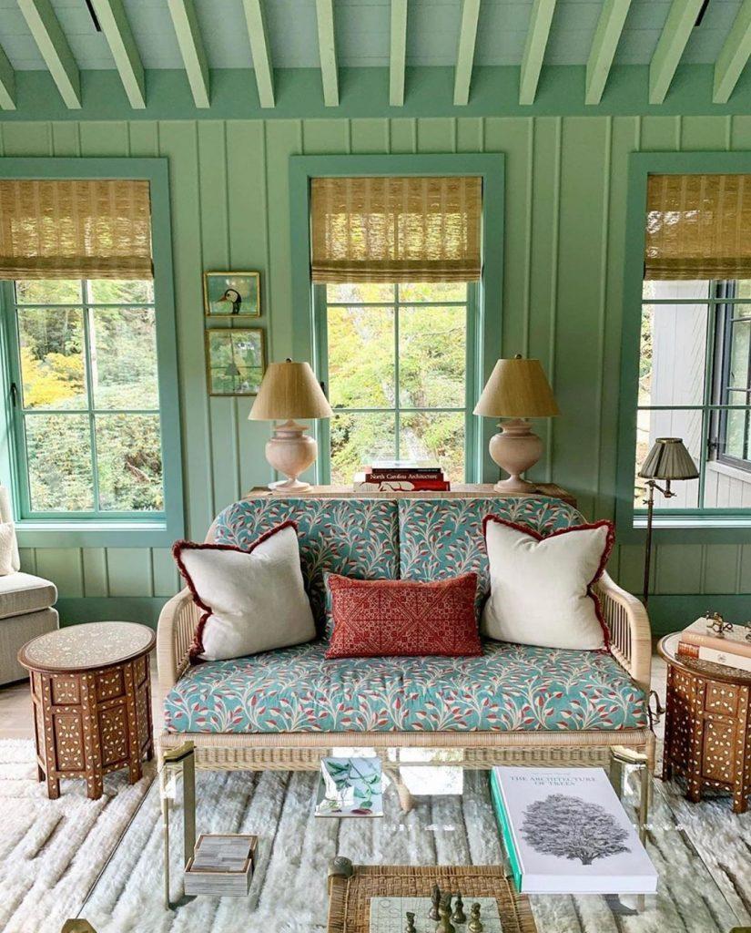 Farrow & Ball Yeabridge Green living room trend