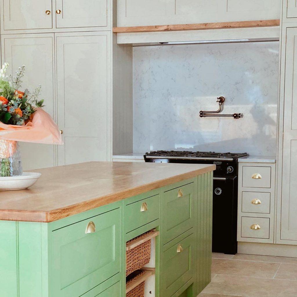 Farrow & Ball Yeabridge Green painted kitchen island
