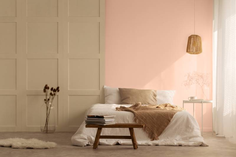 Taubmans Colour Trends for 2021 - bedroom pastel salmon and cream