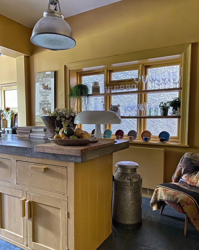 Farrow & Ball India Yellow Kitchen Cabinets and Walls