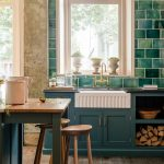 Green Tiles and Green Kitchen Cabinets