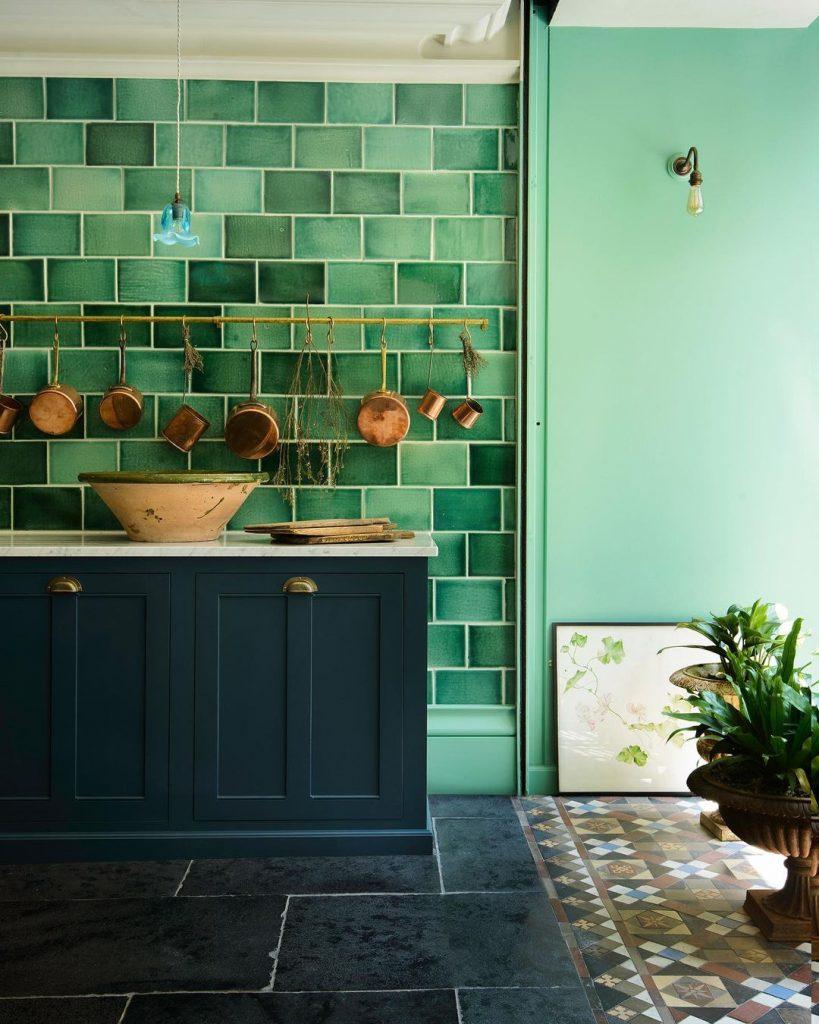 Handmade tiles green kitchen renovation