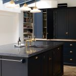Kitchen Design Dark Blue Cupboards and Dark Benchtop