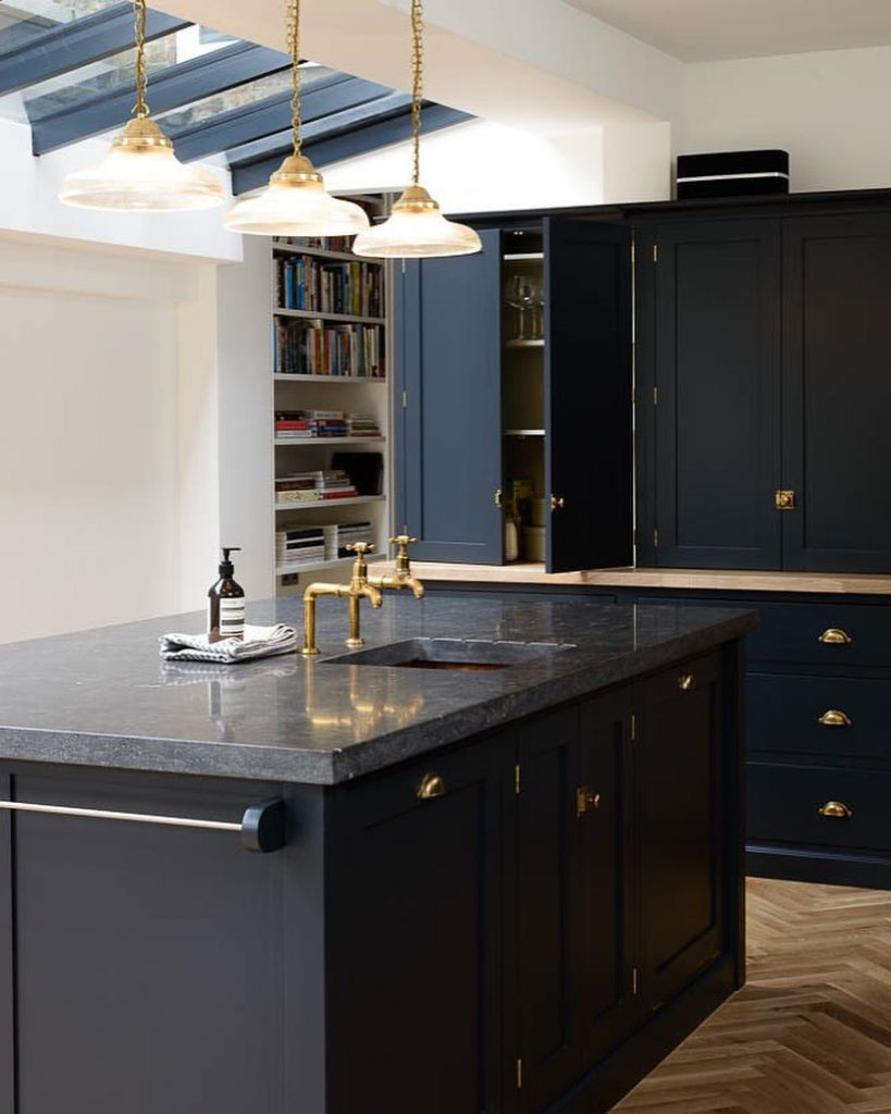 Kitchen Design Dark Blue Cupboards and Dark Benchtop