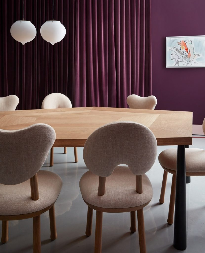 Modern Dining in Neutrals and Purple