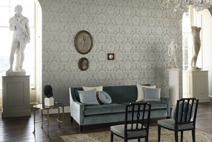 Silver damask wallpaper in the living room