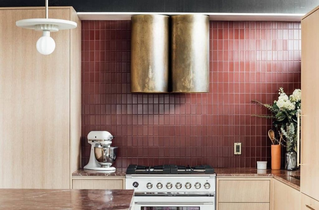 Burgundy red tile kitchen red marble countertop
