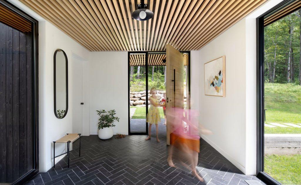 Entrance interior herringbone tiles