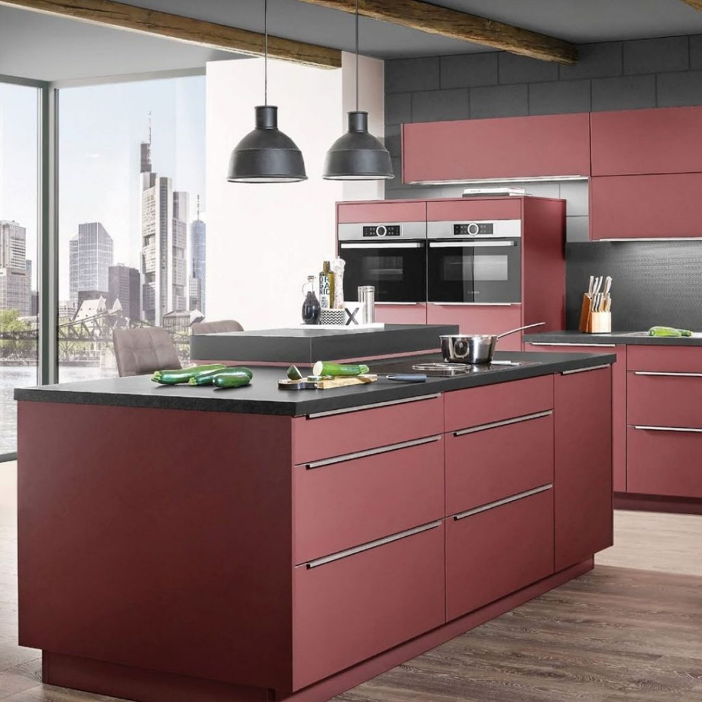 Modern contemporary kitchen cabinets in opaque red