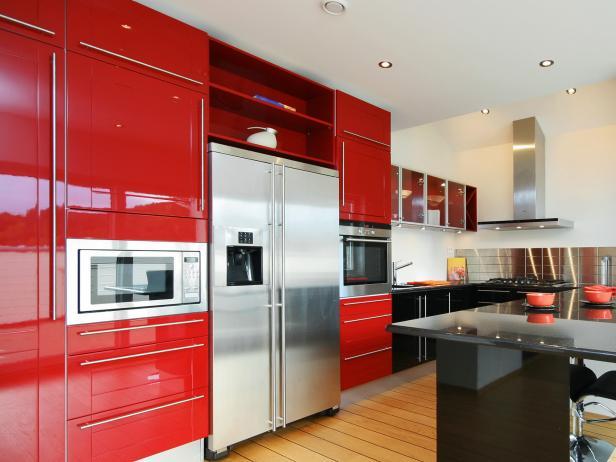 Red kitchen cabinets modern