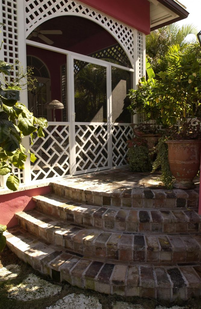 pink house exterior steps