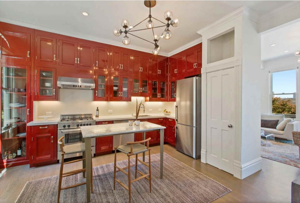 red lacquered kitchen cabinets